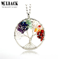 natural stone necklace shape of tree
