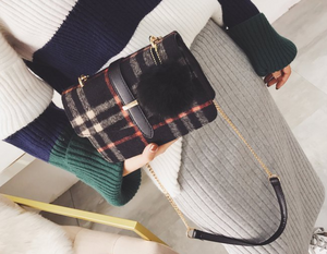 Tartan Plaid Print Punk Messenger Cross Body Handbag