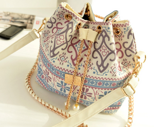 Ladies Vintage Floral Shoulder Chain Cross-body Bucket Bag
