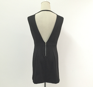 Sexy Black V-Neck Backless Club Dress