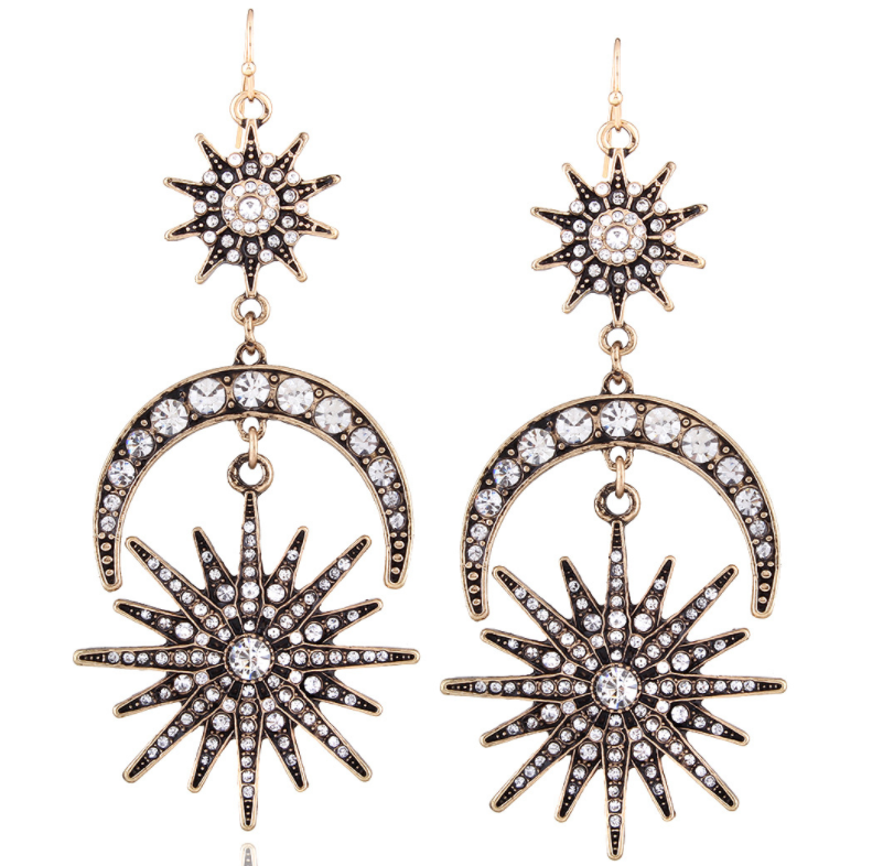 Fashion Hexagram Sun&Moon Overstate Earrings