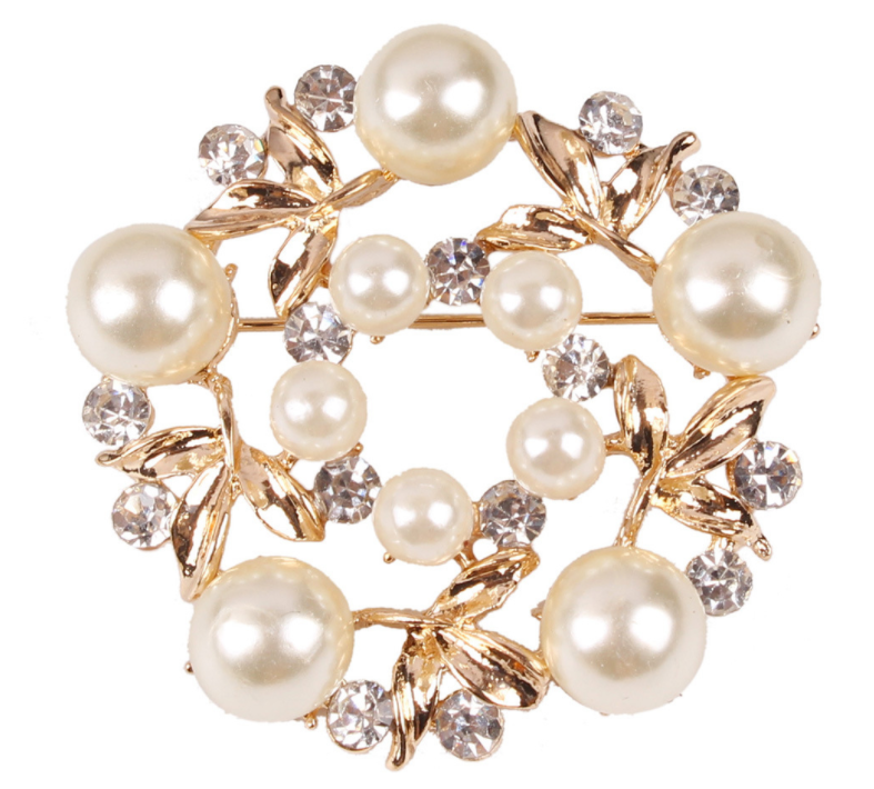 Diamond Pearl Gold Buckle Brooch