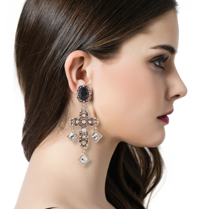 Exaggerate Rhinestone Cross Earrings