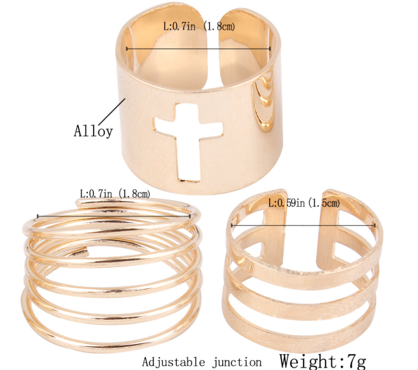 Three Pic Hollow Out Stripe Cross Ring