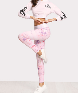 Pink Flower Yoga Pants