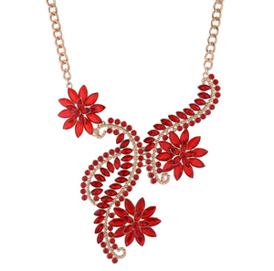 Exaggerate Rhinestones Flower Necklace