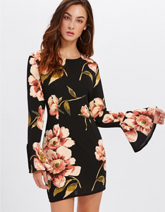 Flare Sleeve Flower Black Dress