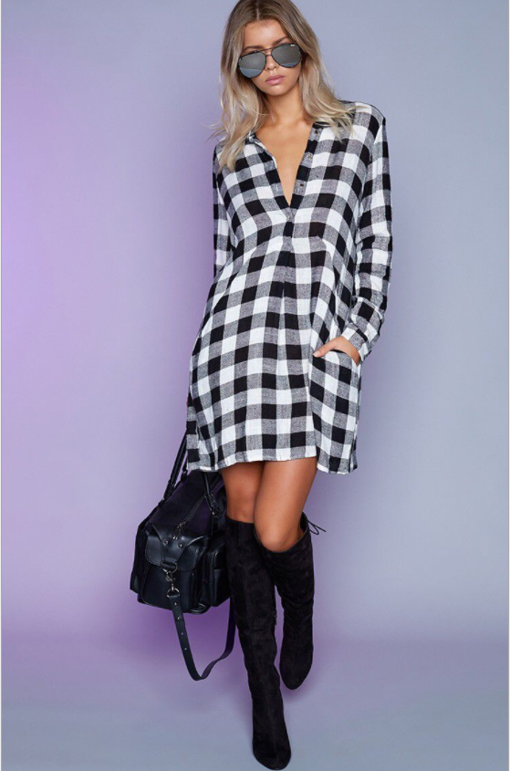 MD-Long Plaid Dress