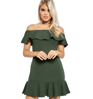 Boat Neck Falbala Dress