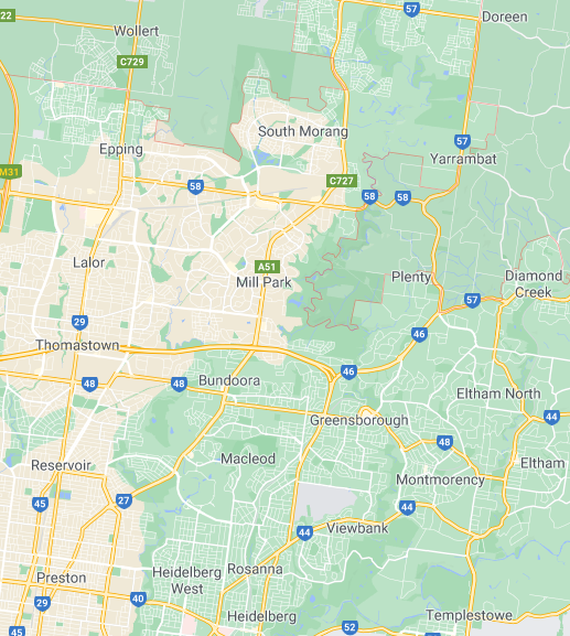 map of the northern suburbs of melbourne
