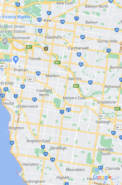 map of the southern suburbs of melbourne