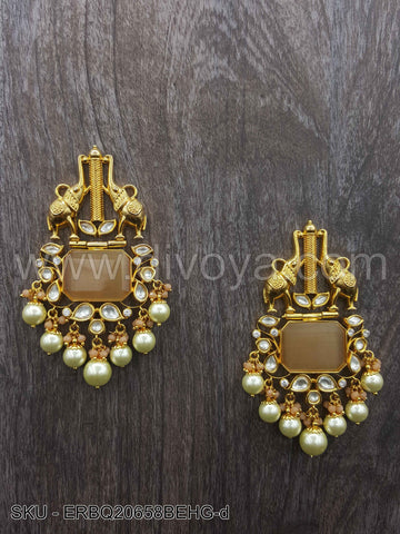 Golden Beige Boutique Designer Earrings