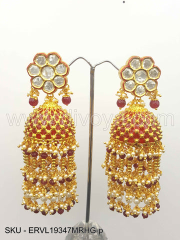 Maroon Red Vilandi Kundan Earrings