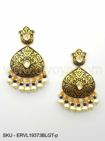 Blue Vilandi Kundan Earrings