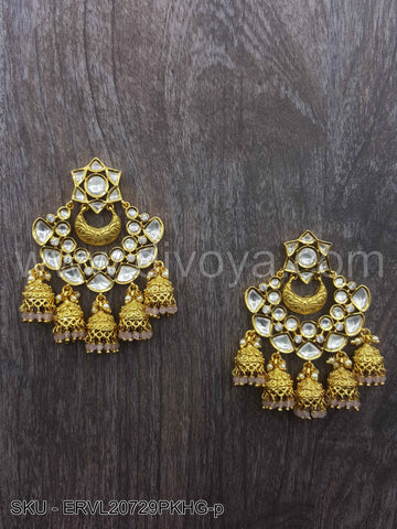 Pink Vilandi Kundan Earrings