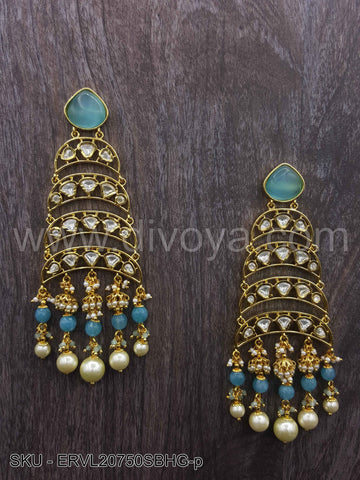 Sky Blue Vilandi Kundan Earrings