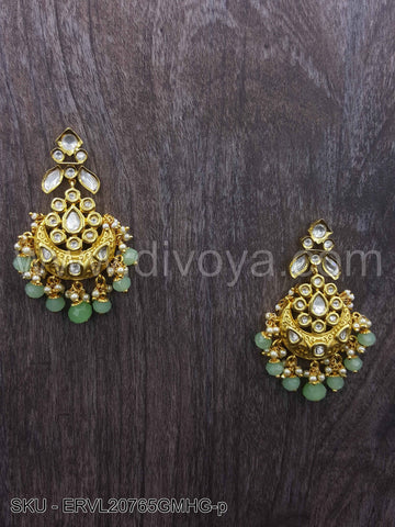 Mint Green Vilandi Kundan Earrings