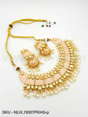 Pink Vilandi Kundan Necklace Set