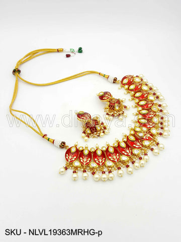 Maroon Red Vilandi Kundan Necklace Set