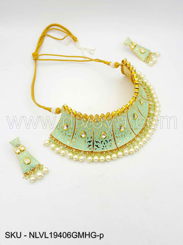 Mint Green Vilandi Kundan Necklace Set