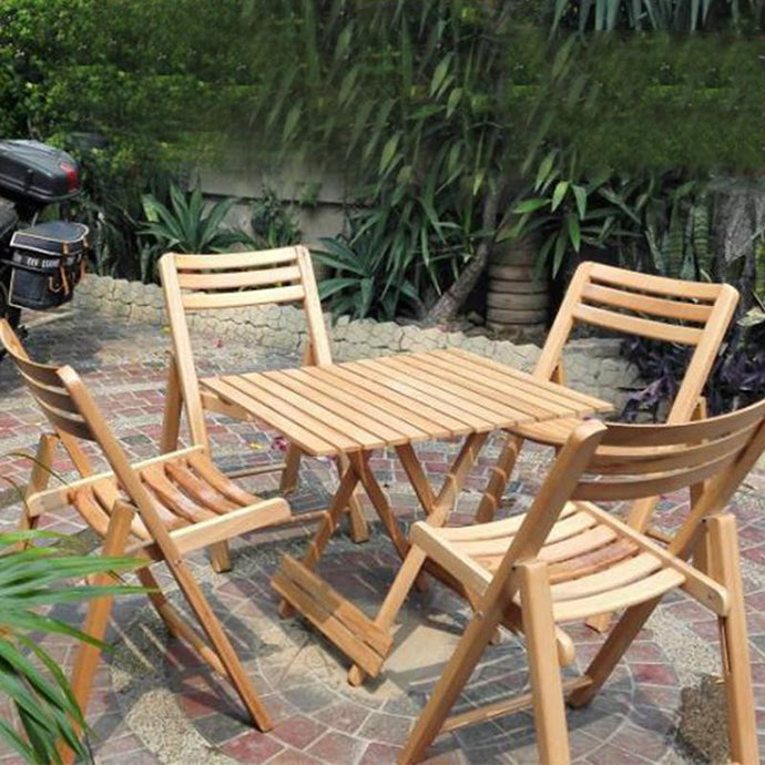 Solid Wood 4 Chairs and 1 Table Set