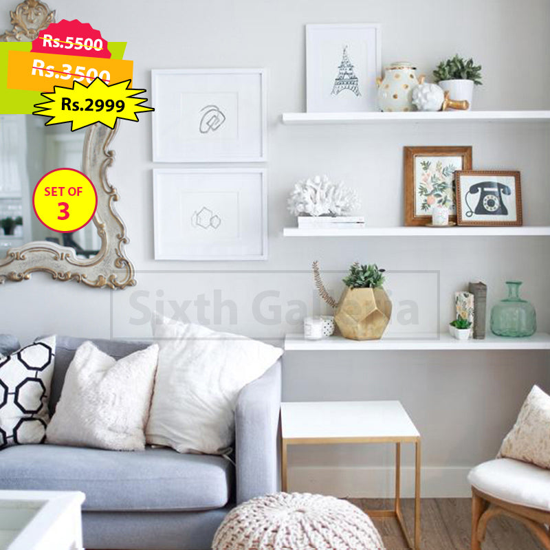 Set of 3 White Floating Shelves