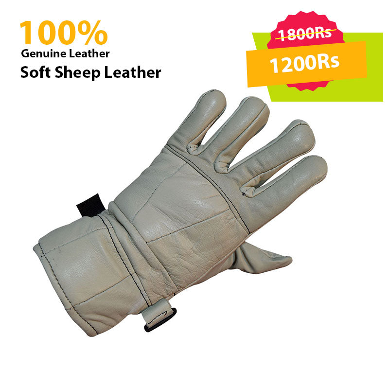 White Genuine Leather Gloves