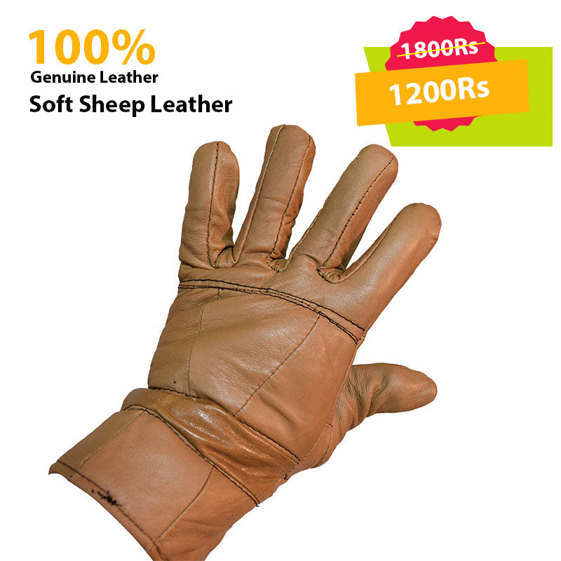 Light Brown Genuine Leather Gloves