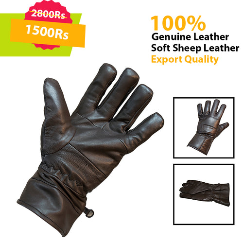 Brown Genuine Leather Gloves