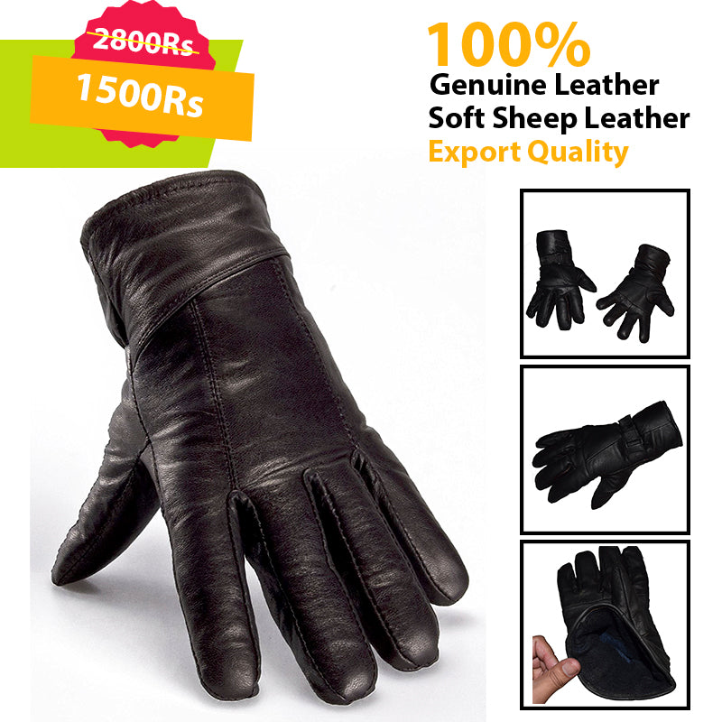 Black Genuine Leather Gloves