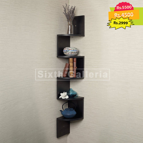 Large Corner Shelf Round Black