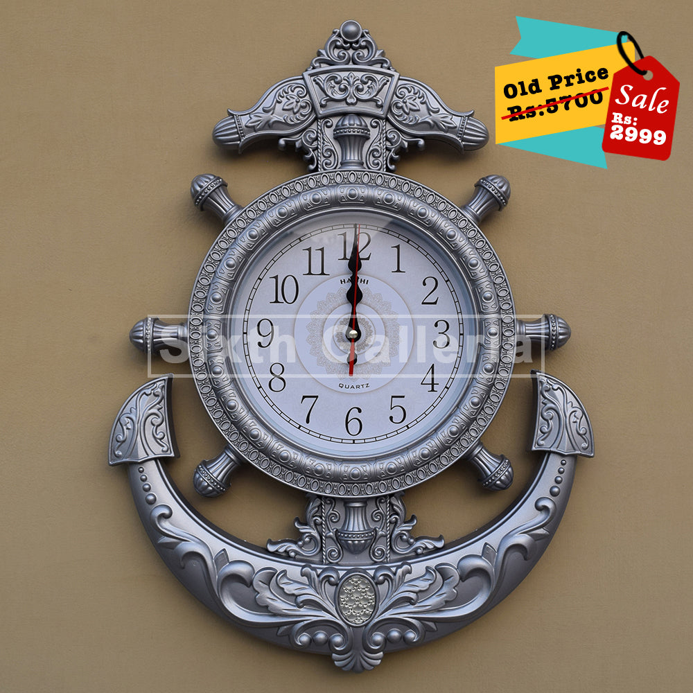 Anchor Clock Silver