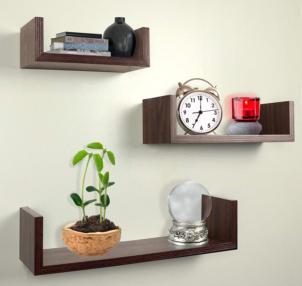 Alozay Shelf Set Walnut Brown