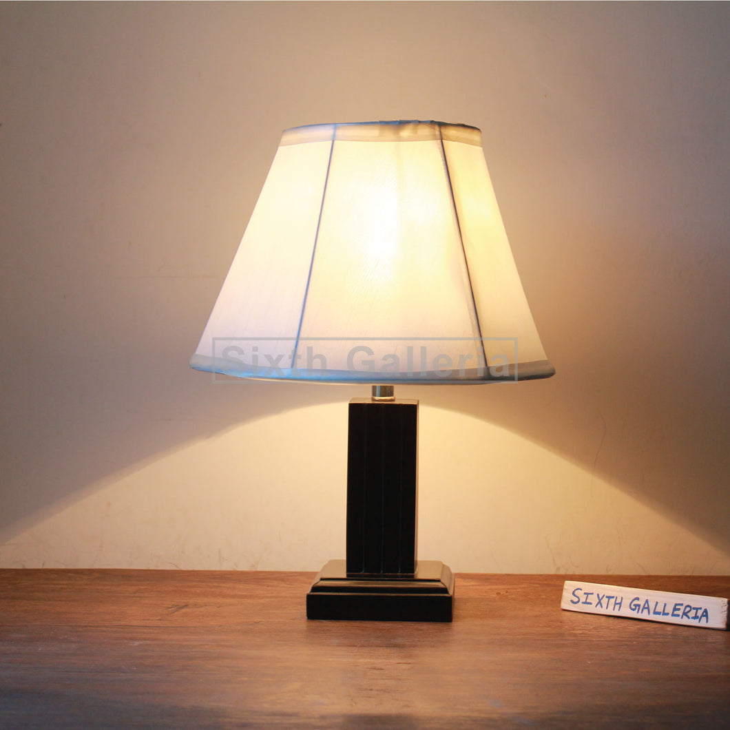 Wooden Pillar Lamp Pair