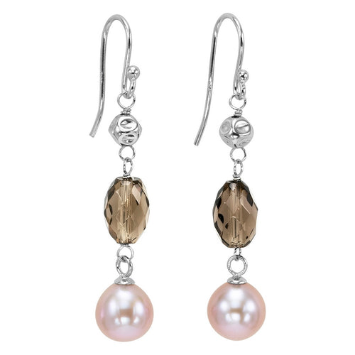 Silver Pearl & Smoky Quartz Earrings