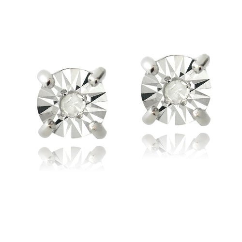 Silver Diamond Stud Earrings .04 tw
