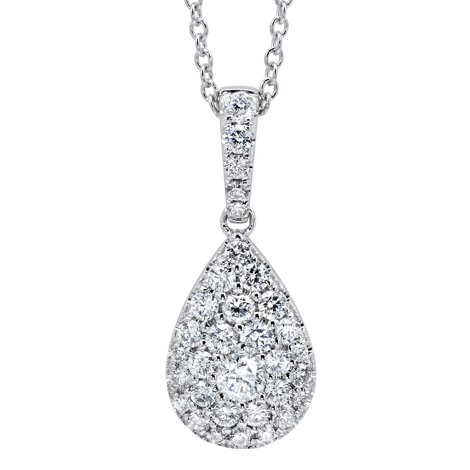 forevermark gold in halo tw white diamond pendant pear necklace shaped
