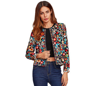 Multicolor Collarless Press Button Botanical Jacket