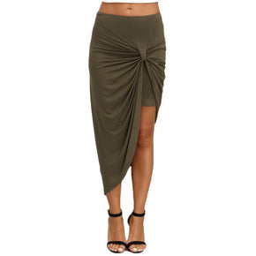 Army Green Pleated Asymmetrical Sheath Midi Skirt
