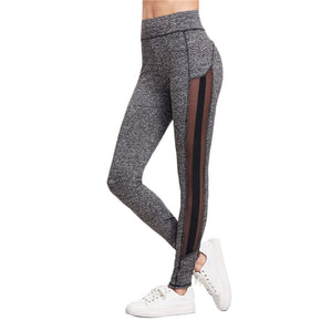 Grey Marled Knit Mesh Panel Skinny Pants Workout Leggings