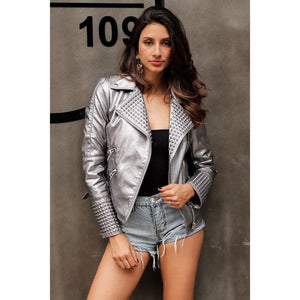 Bling Faux Leather Zipper Punk Rock Jacket
