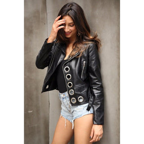 Eyelet Moto Zipper PU Leather Jacket