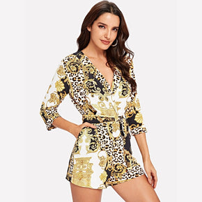 Multicolor Wrap Belted Leopard Print Jumpsuit