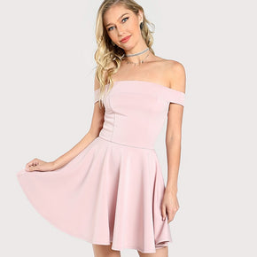 Pink Fitted & Flared Bardot Dress