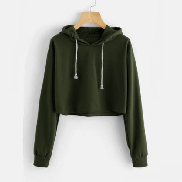 Army Green sweatshirt for women online - madrushfashion.com