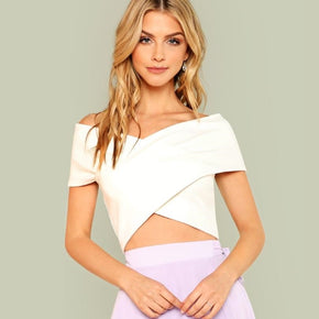 White Cross Wrap Bardot Top