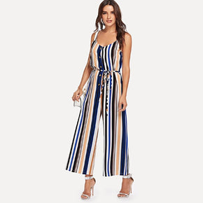 Multicolor Multi-Stripe Wide Leg Cami Jumpsuit