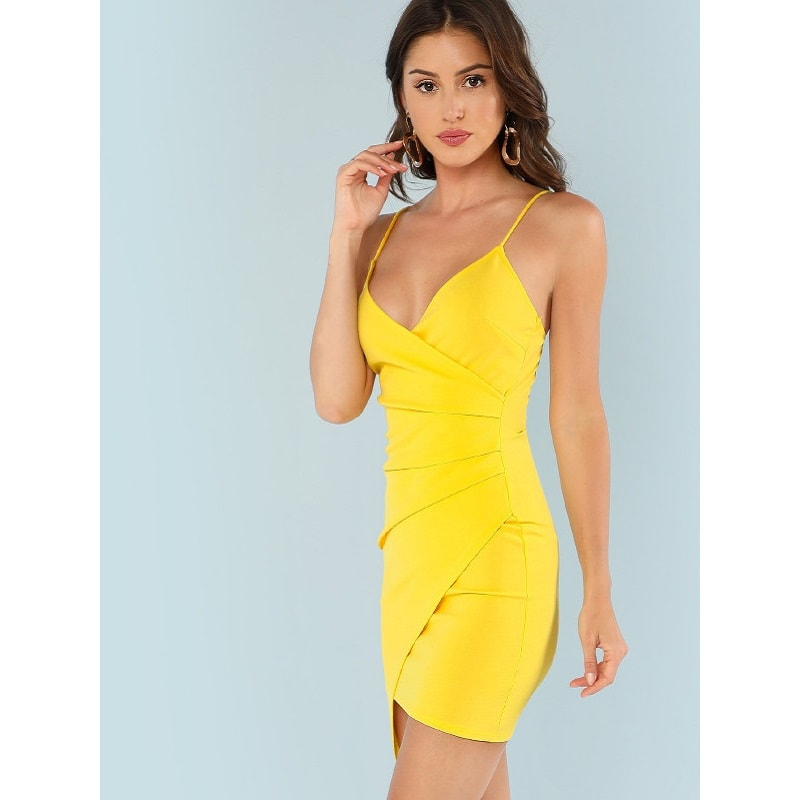 Yellow Ruched Side Asymmetrical Hem Cami Dress