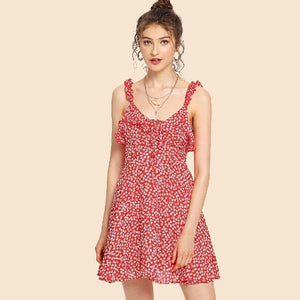 Red floral print backless cami dress for women online - madrushfashion.com