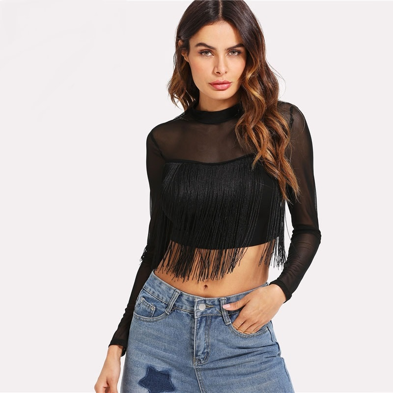 Black Fringe Detail Mesh Crop Top